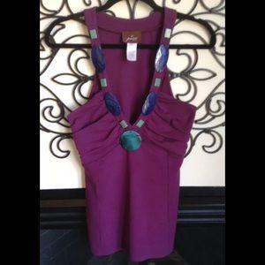 prairie New York brand plum embellished top L